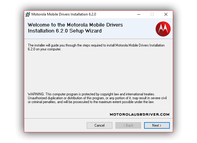 motorola mobile drivers installation 6.2.0